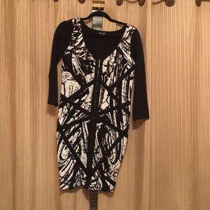 Bebe black/white bodycon dress